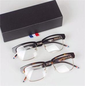 ماركة نظارات-أعلى جودة TB806 النظارات إطارات ريترو موضة نمط معدن نصف إطار نظارات العين مع النظارات مربع الأصلي TB-806