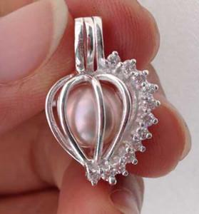 925 Silver Wish Bead Pendentif / Cage coeur ouvert en zircon
