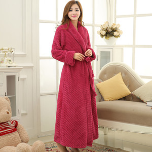 Wholesale- Hot Sale Womens Thick Waffle Long Kimono Bath Robe Women Plus Size Bathrobe Femme Winter Dressing Gown Bridesmaid Robes Wedding