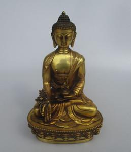 Artantique High 8 inch antique buddha, Collectible old chinese Brass intagliato statua di Buddha chiaro