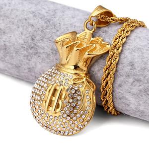 18k позолоченный кошелек кулон ожерелье Rhinstone доллар США знак прохладный мода USD мешок денег форма хип-хоп мужчины ювелирные изделия для подарков