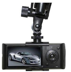 "Sıcak satış Çift Kamera Araba DVR R300 Harici GPS3D G-Sensor 2.7 ""TFT LCD X3000 FHD 1080 P Kam Video Kamera Döngüsü Kayıt"