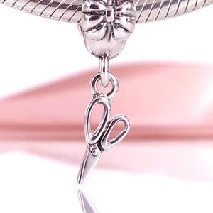 Autentico argento sterling 925 forbici vintage argento ciondola ciondolo misura bracciale Pandora fai da te e collana 791113