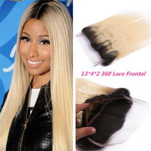 Deux Tons 360 Degrés Dentelle Fermeture Frontale # 1B 613 Ombre Cheveux Raides 360 Bande De Dentelle Frontale Blonde Sombre Racines Malaisiens Cheveux 360 Fermeture