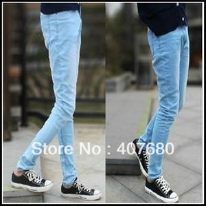 Wholesale-promotion wholele/retail mens casual light blue pencil pants denim skinny korea jeans