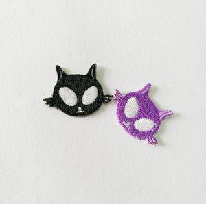 2 Unids / lote Encantador Negro y Púrpura Alien Heads Applique Ropa Bordado Parche Etiqueta de la Tela de Costura de Reparación Bordado 3 * 2 CM