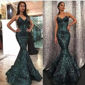 Sparkly Paillettes robes de soirée 2020 sirène courbe décolleté en cœur Hunter couleur balayage train Robes de bal Dubai Abendkleider