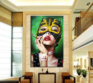 Обнаженная курящая красная девушка с сексуальными губами, Брайан М. Виверос, Чистая ручная роспись, Абстрактная современная фигура, Картина маслом в стиле поп-арт Canvas.Multi размеров P091