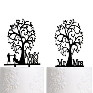 Wedding Cake Topper Silhouette Bride and Groom , Elegant and romantic MR & MRS With Tree Cake Topper wedding decoration idea