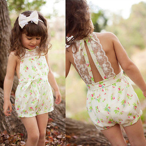 Wholesale- 2016 NEW Pretty Girls Floral Playsuit One-piece Kids Baby Romper Shorts Lace Clothes 2-7Y