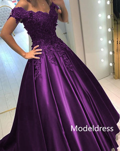 2019 New Formal Evening Dresses Off Shoulder Appliques Beads A Line Long Vestidos De Fiesta Purple Royal Blue Prom Party Gowns Cheap Custom