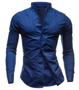 Оптово-универсальный мужской кнопки с длинным рукавом передние рубашки оформление Slim Fit Tee