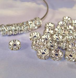 Best Quality Crystal 50 Pz Placcato Argento Placcato Rondelle Rhinestone Perline Risultati distanziali per la produzione di gioielli in 6mm