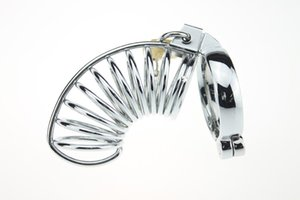 Inoxidável pica Masculino Chastiy Anel Chastity anel peniano Devices Chasity Belt com gaiola Chastity bloqueável Penis Gaiola De Aço Nkdqm