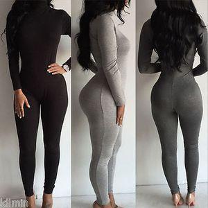 Gros-2017 femme vêtements sexy femmes col roulé manches longues combinaison Body Bodycon costume