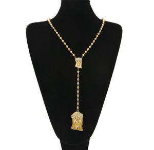 Catena perline in acciaio inox per donna bling Bling 2pcs Collana con pendente in oro testa di Gesù Collana lunga in oro Punk hip hop