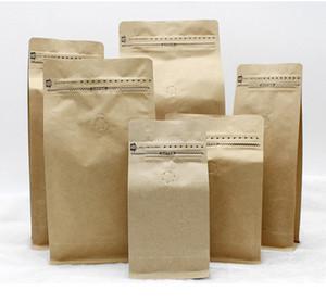 Levante-se o feijão de café / saco de embalagem de chá Saco de papel kraft com válvula de ar Abra o projeto com ziplock 6 tamanho mini ordem: 20pcs taxa shippping