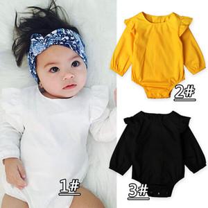 Hot Sales Body para bebé 2017 Nuevo Spring Ruffle Collar de manga larga para niñas Romper Mono de algodón lindo para bebé