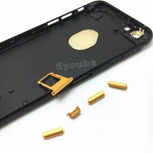 Para iPhone 6 / 6s / 6s Plus Carcasa trasera Reemplazo Carcasa negra mate con botones dorados IMEI al azar