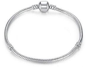 925 실버 도금 Bracelet 뱀 체인 배럴 걸쇠가있는 Pandora Bracelets에 대한 유럽 구슬 로고 DIY 20 개 무료 배송