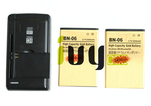 2 pcs 2450 mah bn-06 bn06 bn 06 bateria de substituição de ouro + universal usb carregador de parede para microsoft nokia lumia 430 lumia430
