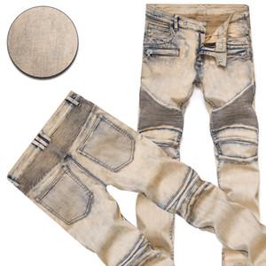Desgaste dos homens da moda Jeans Rasgado Moda Famosa Designer Legal Magro Motociclista Motociclista Causal Jeans Calças Jeans