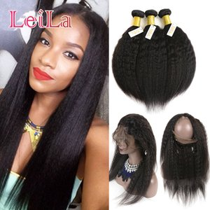 Malaysian 360 Lace Frontal With Bundles Natural Hairline Kinky Straight Pre Plucked Lace Frontal Human Hair Virgin Hair Coarse Yaki