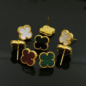 2019 мода ювелирные изделия оптом натуральный черный и белый оболочки агат четыре листа цветок цветок серьги медные позолоченные 18 карат золотые серьги