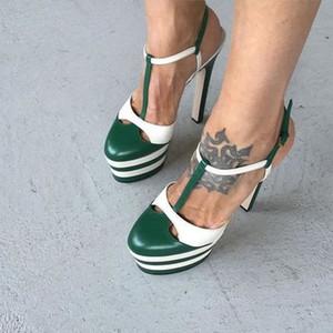 Alta Plataforma T Mostrar Sandálias Do Tapete Vermelho para as mulheres Genuíno leahter Rebites Fivela De Salto Alto Senhoras Bombas Sapatos Da Moda Nova Chegada 2017