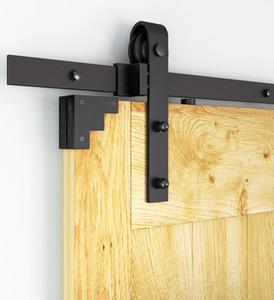 و 6ft / 8FT / 10FT الفلاح الأسود انزلاق باب الحظيرة الأجهزة الحديثة مزدوجة الشونة الأبواب الخشبية المعلقة المسار كيت