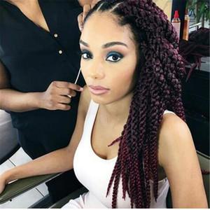 무료 배송 3D 입방 트위스트 크로 셰 뜨개질 머리 띠 Afri Naptural TM 스플릿 합성 Ombre 하바나 맘보 Senegalese Freetress Twist Hair Extensions