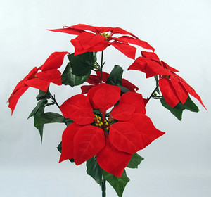 Christmas Decorations Poinsettia Artificial Flowers Festival 5 Heads and 7 Heads Gold   Red Artificial Flowers Pinsettia DF20001
