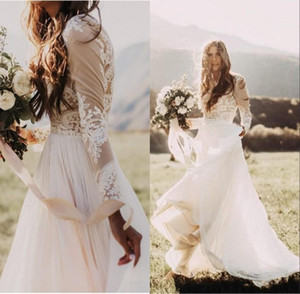 2020 Bohemian Country Wedding Dresses With Sheer Long Sleeves Bateau Neck A Line Lace Applique Chiffon Boho Bridal Gowns Cheap