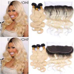Blonde 1b 613 paquetes ondulados de cabello humano con Frontal 13x4 Body Wave Ear to Ear Frontal con Ombre Hair Weaves