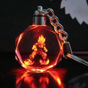 Dragon Ball Evolution Cartoon Anime Figura de acción Juguetes Llavero de cristal LED con luz de noche colorida Llavero anillo con caja de regalo Embalaje
