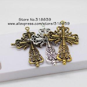 All'ingrosso-Hollow Filigree croce religiosa pendenti di fascini in lega di zinco di metallo gioielli alla moda croce per monili che fanno 12pcs 42 * 63mm 6605