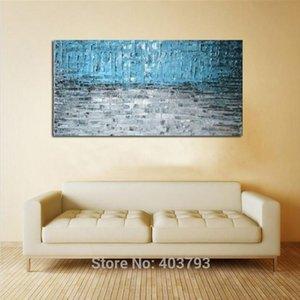 Modern Mão abstrata Grande Pintura A Óleo Decoração Da Parede Na Lona de Arte Decoração de Casa Estilo Azul (Sem Moldura)