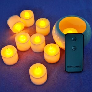 Wholesale- 24pcs Remote Control LED Color Light Candles Wedding Party Home Smokeless Luminous Battery Plastic Candle Lamp Free Shipping
