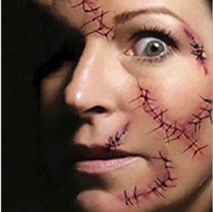 Halloween Face Sticker Zombie Scars Tatouages avec Fausse Galeps Sanglant Costume Maquillage Halloween Décoration Terreur Blessure Effrayant 18 Couleurs