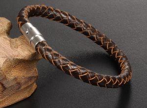 Hohe qualität Echtes Leder Armbänder Armreifen 316L Edelstahl Magnetverschluss Weave leder brecelet Männer schmuck pulseras