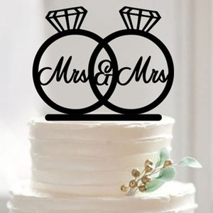 Toptan-2016 Yeni Düğün Pastası Topper Akrilik Mr ve Mrs Yüzükler Sevimli Kuşlar Romantik Düğün Dekorasyon Mariage