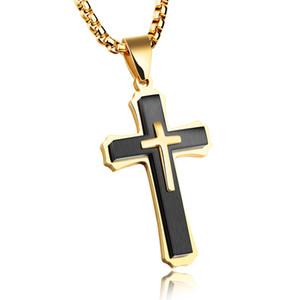 Hommes Crucifix Croix Collier pour Hommes Femmes 316L solides en acier inoxydable Pendentif Collier poli Noir Argent Or