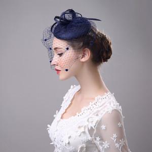 네이비 블루 / 아이보리 / 블랙 / 그레이 Bridal Hats 부드러운 Tulle Face Veil 여성 파티 모자 chapeau mariage
