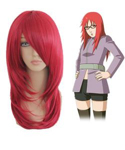 Alta calidad hermosa moda estilo japonés Naruto Uzumaki Karin 55 cm vino rojo Anime cosplay pelucas