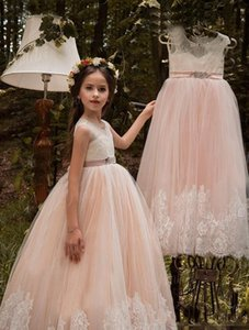 2017 vintage princess flower girls dress with lace tulle appllique sash back lace-up sleeveless jewel floor length dress for weddding