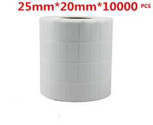 25*20mm 10000pcs roll blank free shipping office paper barcode self adhesive sticker label for printer
