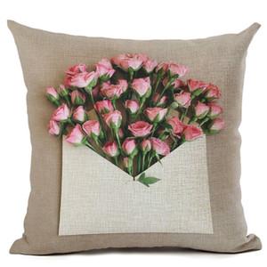cojines vintage decorativos fleur pétales housse de coussin enveloppe canapé salon taie d'oreiller rose cerisier fleur de pêcher décor