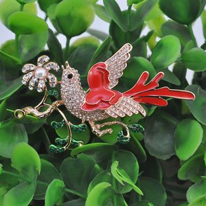 vintage enamel and rhinestone bird and flower brooch - vintage enamel and rhinestone Animal brooch