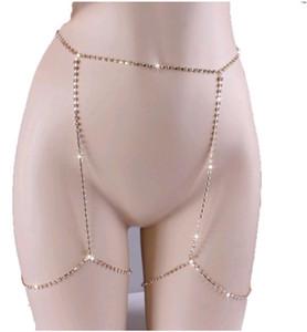 Cadena sexy del cuerpo completo brillante Rhinestones CZ diamantes belleza encantadora pierna joyería plata oro mujeres cadenas del vientre