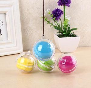 5cm Diametro Macaron Ball Plastic Hollow Ball Decorative Trasparente trasparente Macaron scatola plastica torta Ball Box con foro appeso